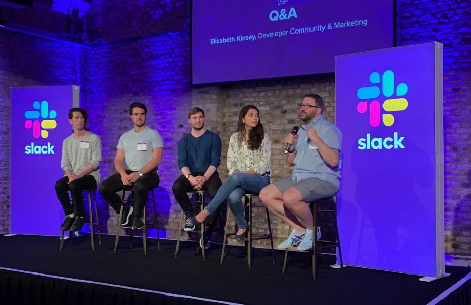 Image of people talking at a Slack Platform event
